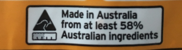 58 per cent Australian Ingredients