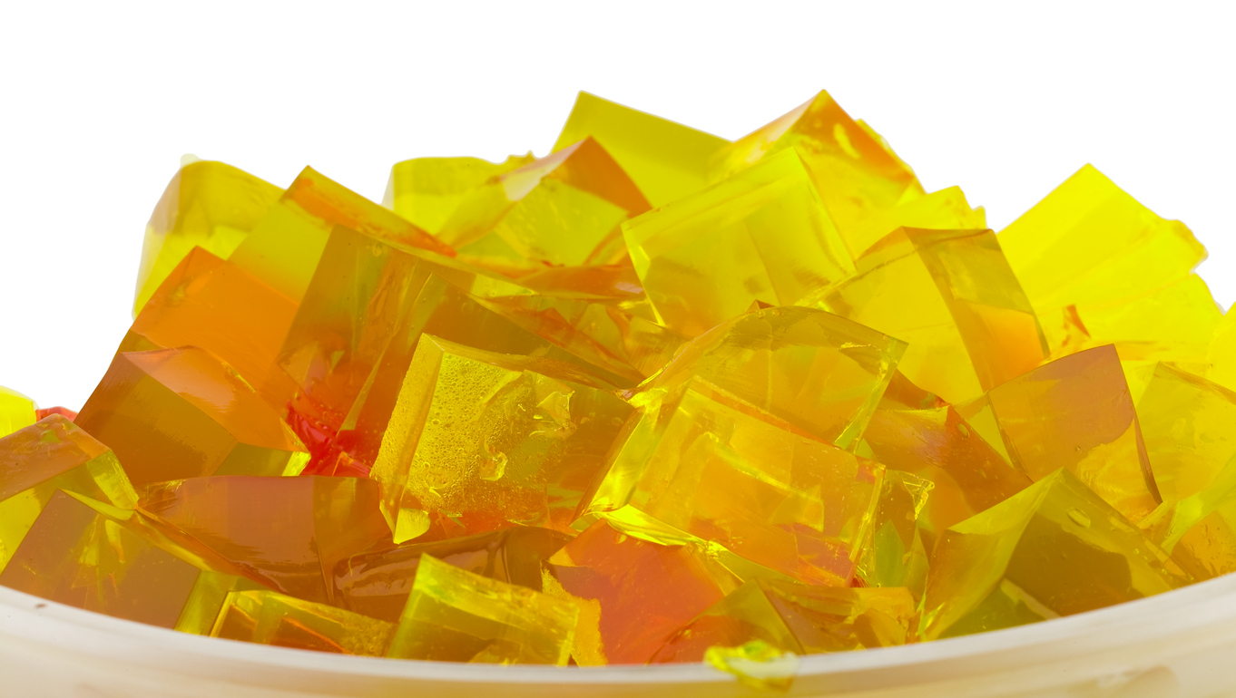 jelly cubes in bowl yellow