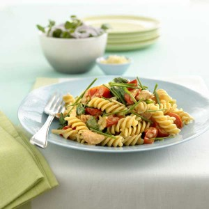 Fusilli pasta with salmon & baby spinach