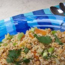 Brown rice salad with apricots and pine nuts