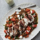 Barbecued lamb with lentil salad & lemon yoghurt dressing