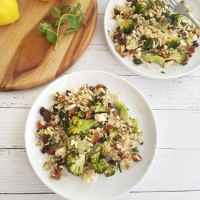 Roasted Broccoli and Brown Rice Salad with Feta
