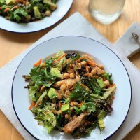 Chicken, chickpea and avocado salad with Asian-style dressing