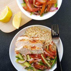 Grilled chicken breast with julienne salad