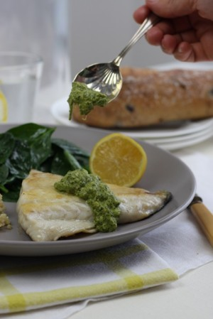 Fish fillets with coriander pesto and cous-cous