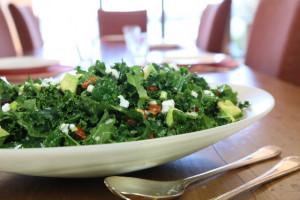 Kale, avocado and almond salad