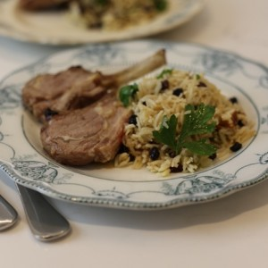 Grilled lamb cutlets with currant & pine nut pilaf