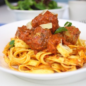 Tagliatelle with chilli meatballs