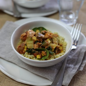 No-fuss salmon, vegetable and macaroni toss