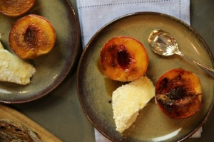 Honey ricotta with grilled peaches