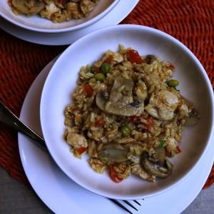 Easy chicken and mushroom pilaf