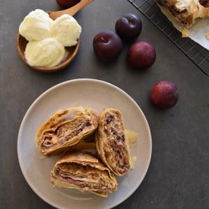 Fresh plum and ricotta strudel