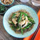 Stir-fried prawns and asparagus