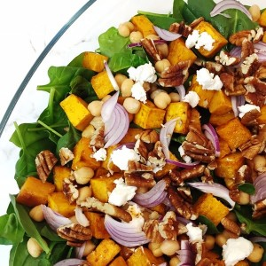 Roast pumpkin, baby spinach, walnut & fetta salad