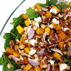 Roast pumpkin, baby spinach, walnut & fetta salad