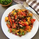 Roasted vegetable and bean salad
