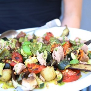 Mediterranean vegetables and tuna