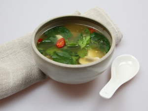 Clear spinach soup with tofu