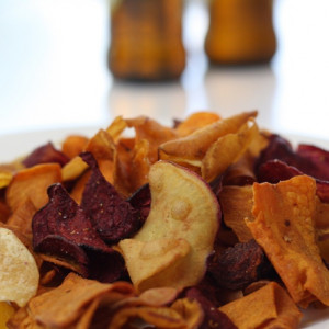 Product Review Orange and Purple Vegetable Crisps
