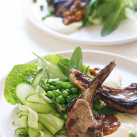 Lamb Cutlets with Cucumber & Pea Salad and Spiced Curry Yoghurt