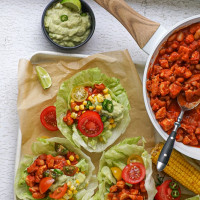 Mexican Lettuce Cups with Avo Yoghurt Dressing and Steamed Corn