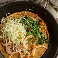 Asian-style omelette with prawns, cabbage and broccolini